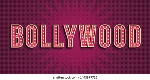 Bollywood word on gradient background. Indian cinema poster with text and spot light, Indian cinematography. film event poster. Typography design, font bright glowing decoration
