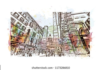 Bologna Due Torri & Piazza Maggiore is a central square in Bologna, region of Emilia-Romagna, Italy. Watercolor splash with Hand drawn sketch illustration in vector.