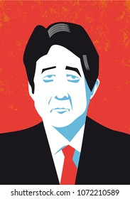 Bologna, Italy, April 2018, Japanese Prime Minister Shinzo Abe vector portrait