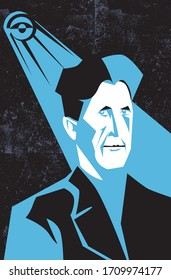 Bologna, Italy, April 2020, George Orwell vector portrait