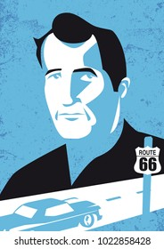 """Bologna, Italy, February 2018, Jack Kerouac, author of """"On the Road,"""" vector illustration"""