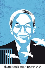 Bologna, Italy, February 21, 2018, Nelson Mandela vector illustration
