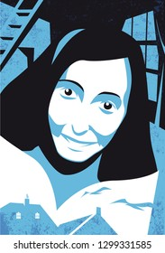 Bologna, Italy, Januari 2019, Anne Frank illustration, vector