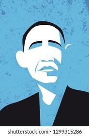 Bologna, Italy, January 2019, Barack Obama vector portrait