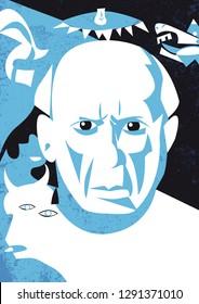 Bologna. Italy, January 2019. Pablo Picasso vector illustration