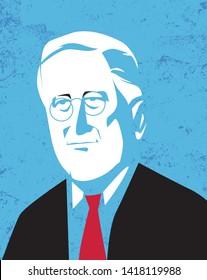Bologna, Italy, June 2019, Franklin Delano Roosevelt president vector portrait