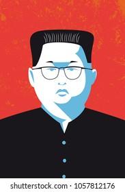Bologna, Italy, March 30, 2018, North Korean leader Kim Jong-un vector portrait