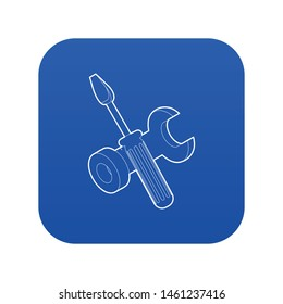 Bolt driver icon blue vector isolated on white background