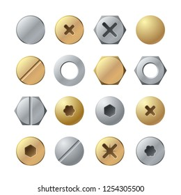 Bolt heads. Metal head pin nail rivet, brass screw. Industrial top view steel fasteners, repair screws vector isolated set