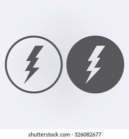 Bolt icon set in circle . Vector illustration