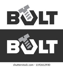 Bolt logo. Screws and nut, wrench tool. Vector illustration.