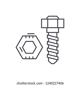 Bolt and nut line icon concept. Bolt and nut vector linear illustration, symbol, sign