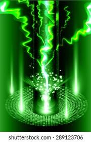 bolt. thunderbolt, thunder. Dark green Abstract light lamps background for Technology computer graphic website internet business. Vector illustration.Spot Effect. neon, Spotlights. infographics