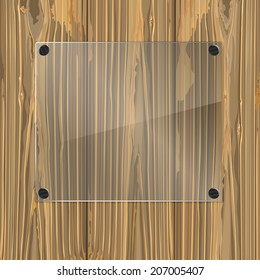 Bolted glass plate on a wood background. Vector illustration
