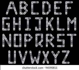 Bolted metal strip vector alphabet. A to Z