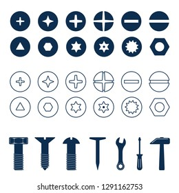 Bolts and screws heads set. Bolt and screw, nut top view, tools vector illustration.