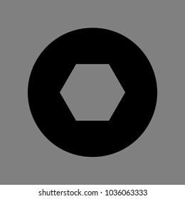 Bolts, screws with hexagonal head icon. Vector. Black icon on medium gray background. Isolated.