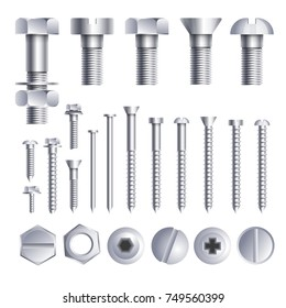Bolts screws metal pins with different head slot and thread vector icons