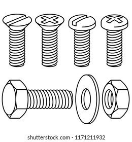 Bolts and screws. Washer and nut on white background. Vector illustration.
