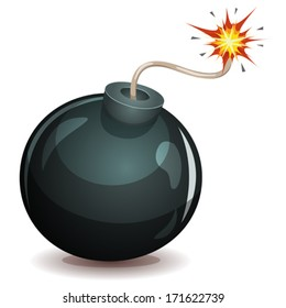 Bomb About To Blast/ Illustration of a cartoon black bomb icon about to explode with burning wick, isolated on white