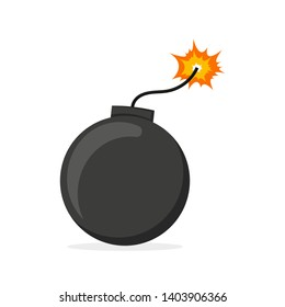 bomb with burning wick on a white background