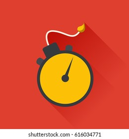 Bomb with clock timer in flat design. Vector flat illustration.