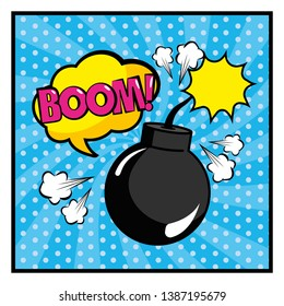 bomb with cloud and boom pop art message