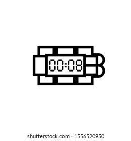 Bomb with digital clock outline icon. Clipart image isolated on white background