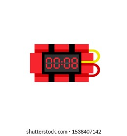 Bomb with digital timer clock icon. Clipart image isolated on white background
