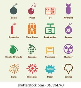 bomb elements, vector infographic icons