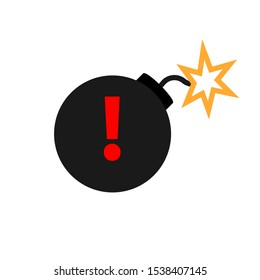 Bomb with exclamation mark icon. Clipart image isolated on white background