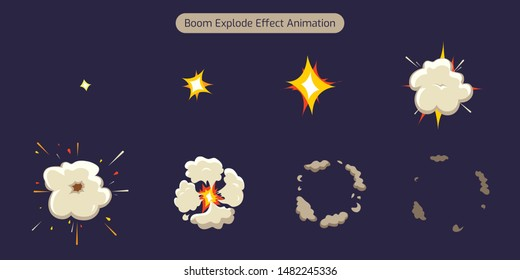 Bomb Explode Effect Animation with smoke. Rocket strike. Cartoon explosion sprites sheet frames. Vector Cartoon illustration. - Vector