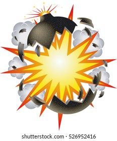 bomb explosion cartoon style vector background
