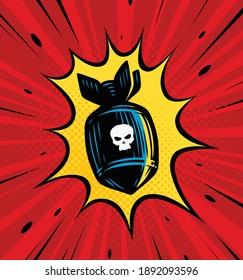 Bomb explosion. Comic book vector illustration
