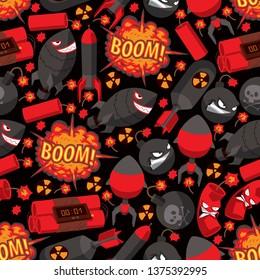 Bomb explosion seamless pattern vector weapon danger destruction boom illustration explosive backdrop of rocket character dynamite background.
