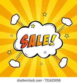 Bomb explosive pop art sales. Sale vector design with comic bubble