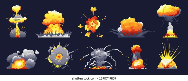 Bomb and fire explosion isolated cartoon set. Vector realistic fiery boom, danger explosive bombs, detonation atomic clouds bursting over black. Dynamite detonator mobile and ui game animation icons