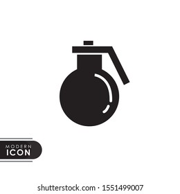 bomb grenade black solid icon with modern design. flat style for graphic design template. suitable for logo, web, UI, mobile app. vector illustration