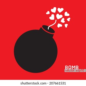 Bomb with hearts. Vector