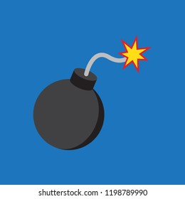 Bomb icon in flat style, vector illustration. Vector bomb icon illustration isolated on blue background, bomb icon Eps8. Bomb icons graphic design vector symbols.
