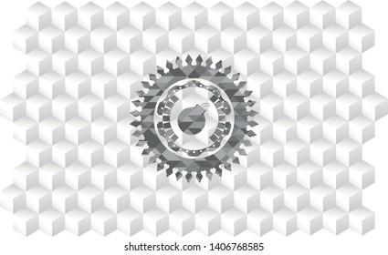 bomb icon inside grey badge with geometric cube white background