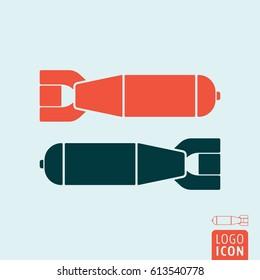 Bomb icon. Two aerial bomb symbol. Vector illustration.