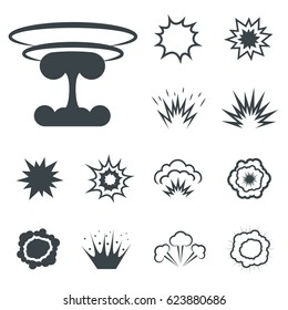 Bomb icons, bang and exploding symbols. Vector illustration