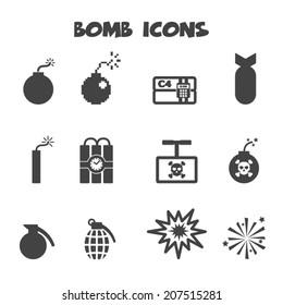 bomb icons, mono vector symbols