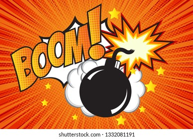 Bomb in pop art style and comic speech bubble with text - BOOM! Cartoon dynamite at background with dots halftone and sunburst.