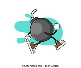 Bomb run cartoon. Mascot Character vector.