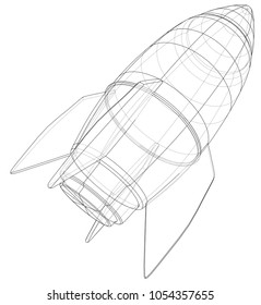 Bomb sketch. Vector rendering of 3d. Wire-frame style. The layers of visible and invisible lines are separated