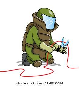 Bomb squad expert defusing bomb