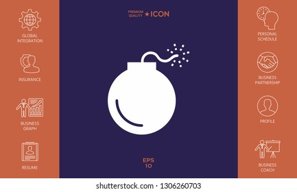 Bomb symbol icon. Graphic elements for your design