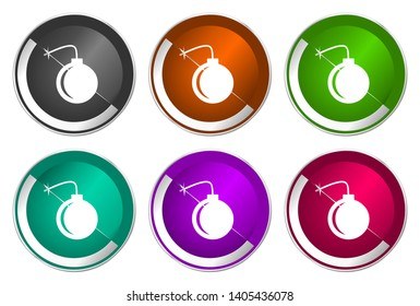 Bomb symbol, set of silver metallic round icons in six colors options isolated on white background, modern design vector illustration